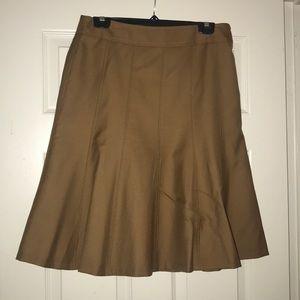 Ann Taylor Tan Midi Skirt